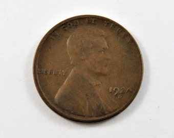 U.S. 1924 D Key Date Lincoln Head Penny. Low Mintage.