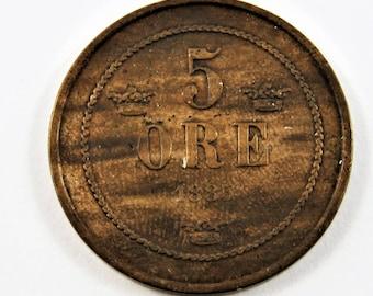 Sweden 1885 Bronze 5 Ore Coin.