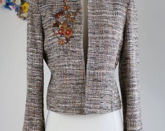 1990s Blazer - Tweed Embroidered - Collarless - Floral Butterfly Embellished Fitted Fall Vintage Jacket - Small/Medium - Brown Grey