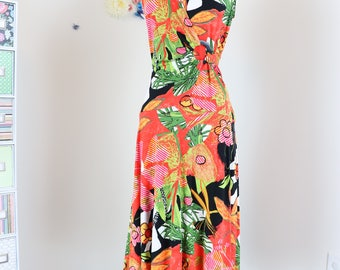 1990s Dress - Tropical Vintage Floral Midi Dress - S/M - Joseph Ribkoff - Bold Abstract - Sleeveless - Full Skirt - V Neck - Ruched Waist
