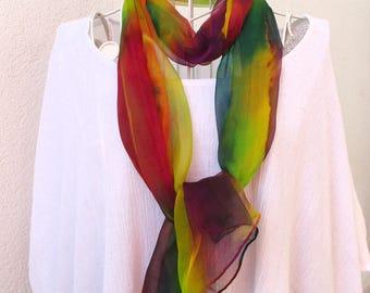 """Etole en mousseline de soie peinte à la main, hand painted silk scarf, unique, arc en ciel, from France """"Rainbow"""""""
