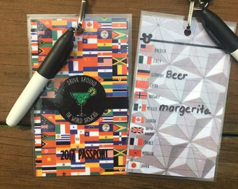 Drink Around the World Showcase Epcot Passport with Lanyard and Marker - MARGARTIA DRINKERS -