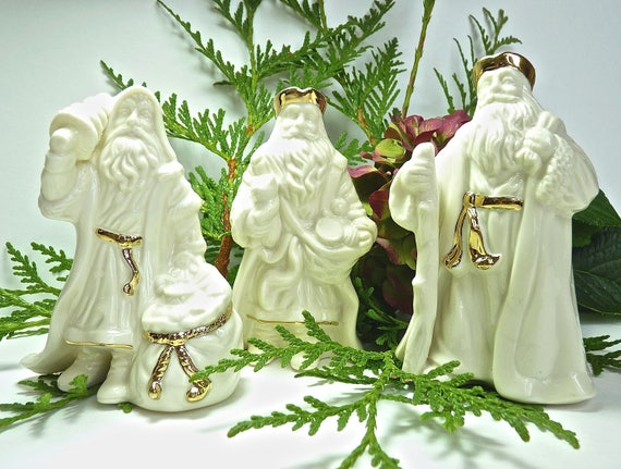 LENOX SANTAS ~ Trio of Lenox Santas ~ Lenox White with Gold Trim ~ Christmas Decor ~ Home Decor ~ Christmas Ornaments ~ Vintage Lenox