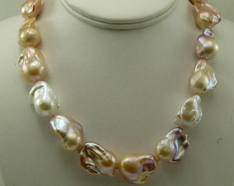 Freshwater Multi-Colored Pearl Necklace 14k Yellow Gold Clasp 18 Inches Long