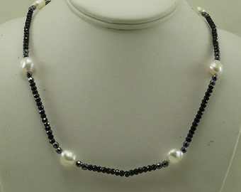 Freshwater Pearl, Black Spinel and Hematite Necklace with Sterling Silver Clasp