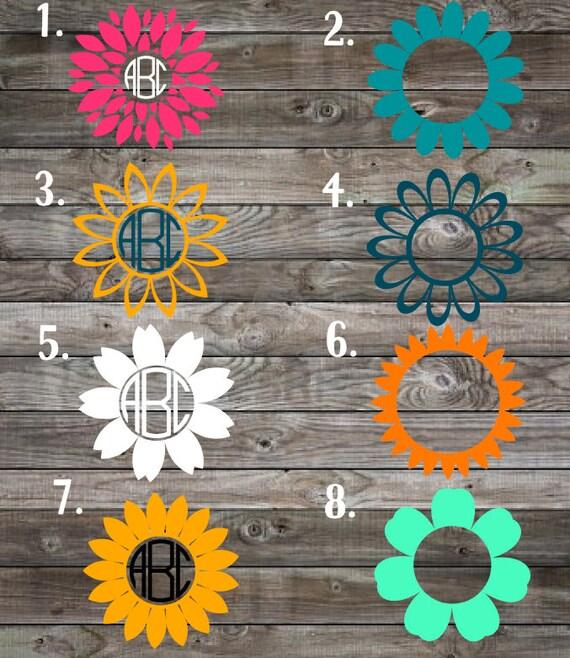 Shop Floral Monograms At Littlebrownnest Etsy Com: Monogram Decals Flower Decal Custom Monogram Stickers