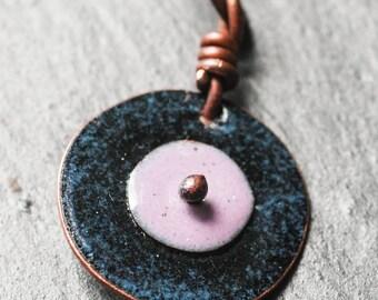 boho midnight blue and mauve disc pendant