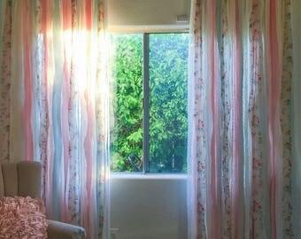 Shabby Chic Curtain, Shabby Chic Curtains, Nursery Curtain, Nursery Curtains, Lace Curtains, Lace Curtain, Shabby Chic Decor,  peach aqua
