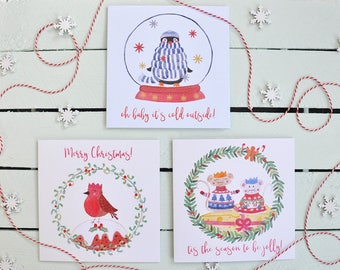 Christmas Cards - Jolly Creatures - Set of 6 Cards - 3 Cute Holiday Animal Designs - Penguin - Mice - Robin