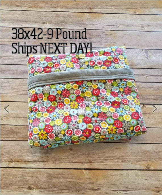 Floral, 9 Pound, WEIGHTED BLANKET, Ready To Ship, 9 pounds, 38x42 for Autism, Sensory, ADHD