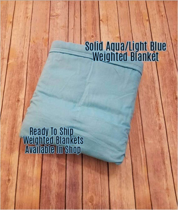 Solid Color, Weighted Blanket, Aqua, Light Blue, Up to Twin Size 3 to 15 Pounds.  SPD, Autism, Weighted Blanket.
