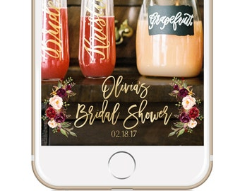Bridal Shower Geofilter / Bridal Shower Snapchat Filter  / Snapchat Geofilter / Winter Bridal Shower / MARSALA FLORAL Bridal Shower Filter