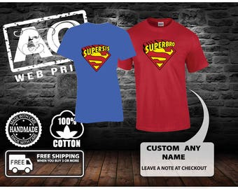 Boy 'Super Brother' Shirt with Name and Matching Cape