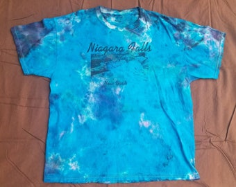 XL Niagra Falls decal graphic blue drip tie dye shirt