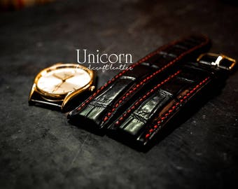 Alligator watch strap handmade Leather, Handmade Vintage Leather Strap, Leather Watch Band