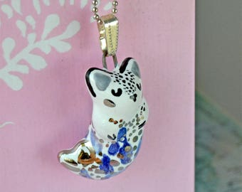 Mermaid Arctic Fox Jewelry, Charming Gift for Girl, Adorable Animal Necklace, Gift For Fox Lover  Ceramic Fox Necklace, Genuine Platinum