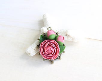 Pink peony necklace, Flower clay necklace, Floral clay jewelry, Peony pendant, Flower pendant, Floral Necklace