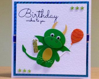 Birthday Card, Handmade - Cute Dragon / Bumblebee / Hedgehog - Cute Birthday Card For Children/ Kids/ Men/ Women - Handmade