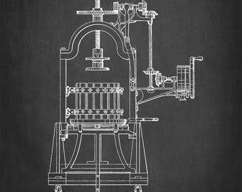 Wine Press Patent Art Print - Perotti Wine Press Patent Art Print - Wine Patent Print