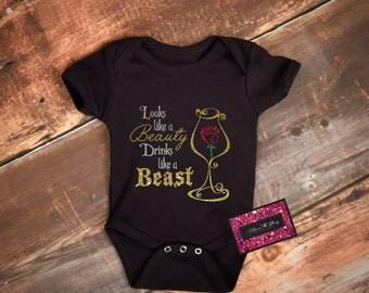 Glitter Baby Onesie - Looks Like A Beauty Drinks Like A Beast