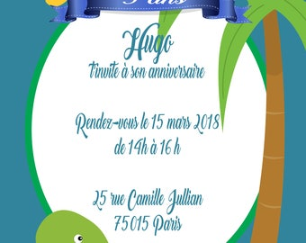6 cards birthday invitation dinosaur-size 10 x 15 cm - printed and personalized