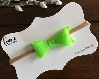 Felt Bow Baby Headband, Lime Green, Nylon Headband