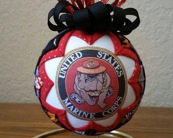 U.S. Marine Corps Ornament, Marine Corps Keepsake, Quilted Military Ornament, Marine Bulldog