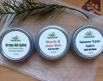 Sampler Kit, Herbal Healing Salve, Self Care Kit, Mindfulness Gift, Skin Healing Cream, Green Salve, Pain Salve, Sleep Aid, Holistic Healing
