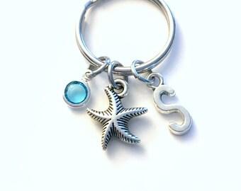 Starfish Keychain, Gift for Teenage Girl Key Chain, Star Fish keyring, Initial Birthstone present women her him Teen Girl Teenager Men beach