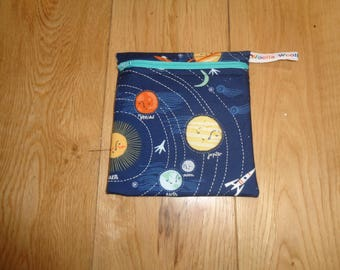 Snack Bag - Bikini Bag - Lunch Bag - Make Up Bag Small Poppins Waterproof Lined Zip Pouch - Sandwich bag  Eco - Planets Space Solar System