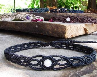 Macrame choker - headpiece moonstone gift for her boho headband gothic jewellery creepy cute gift 90s black choker hippie goth gifts vegan