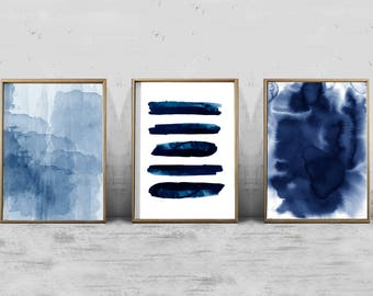 Navy Blue Wall Decor abstract watercolor set minimalist art navy blue wall art