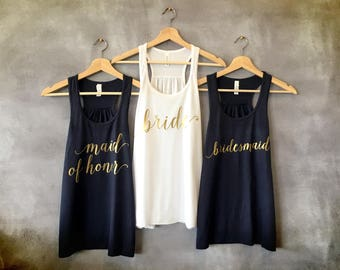 Bride Tank Top, Bridesmaid Tank Tops, Maid of Honor Tank Top, Bachelorette Party Shirts, Bridal Party, Bride Squad, Matron of Honor