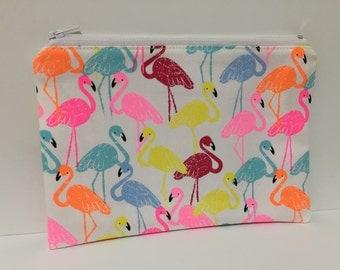 Zipper Pouch, Pencil Case, Make Up, Gift, Teacher Gift, Teen gift, New Mum Gift, Nappy Bag, Bag Organiser,Cosmetic bag, Flamingo pouch