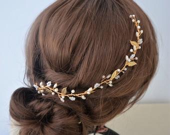 Bridal hair vine, gold leaf hair vine, wedding head piece, bridal hair piece, bridesmaid hair accessory, rustic wedding, pearl hair vine