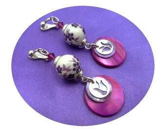 Clip on earrings, silver, ceramic, Crystal, Pearl, white plum fuchsia, boho chic