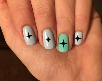 North Star Compass Nail Art Decals - Vinyl Nail Stickers