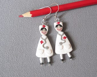 Nurse jewelry, earrings for nurses or doctors, 2 dolls in white  uniform and red cross, fun earrings polymer clay fimo, nurse gift idea