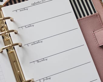 Printed Week on 1 Page Personal Planner Inserts Horizontal with Square GRIDS - Monday to Sunday