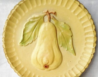 Vintage Chalk Ware Wall Plaque Dish Yellow Pear Design