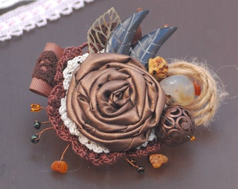 Brown textile brooch Floral Scarf Pin Fabric Flower Brooch Shabby fabric brooch Pin corsage Boho wedding corsage Sweater Pin Hat Dress Pin