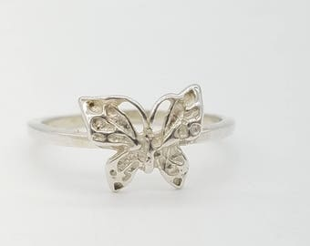 Vintage Dainty Sterling Silver  Butterfly Ring Size 7.25