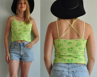 90s Hawaiian Cross Back Crop Top // Large // Green Floral Print