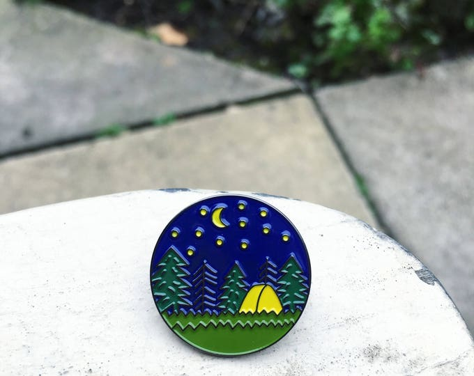 NEW! Camping Enamel Pin
