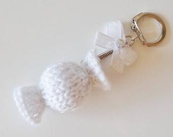 Key chain / white candy bag charm