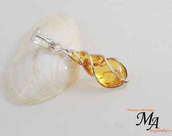 Amber stone Pendant Silver sterling 13640 AUTHOR'S +Certificate myamber.eu