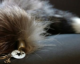 "SALE 17"" Large Silver Fox Tail Keychain - Thick Fur"