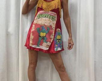 Teenage Mutant Ninja Turtle Dress Ninja Turtles Comic Con Cosplay Dress Ninja Turtles 1920's Flapper Dress Size Small