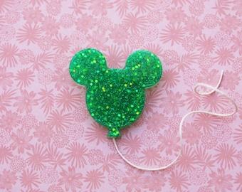 Disney Darling Mickey Balloon Brooch  - Jolly Hollieday Groovy Green Sparkle Mickey Brooch - Mickey Mouse Balloon Disney Brooch