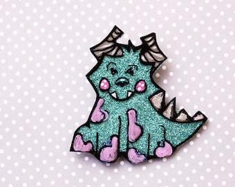 Monsters Inc Disney Brooch - Sulley Brooch - Hand Painted Glittery James P Sullivan Brooch